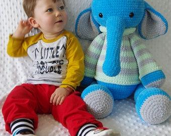 Elephant Crochet , stuffed toy , Plush Toy ,  Animal Toy , plush animal , Elephant Crocheted, Stuffed Animal, Amigurumi elephant , baby gift