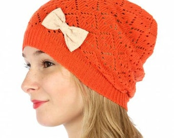 Orange Beanie with Bow Orange Knit Beanie Orange Crocheted Hat Coral Beanie Coral Hat Bow Detail Beanie Slouchy Hat FREE U.S. SHIPPING