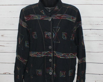 Christopher Banks Women's Black Blazer Multi Colored Stitching Size XL Long Sleeves