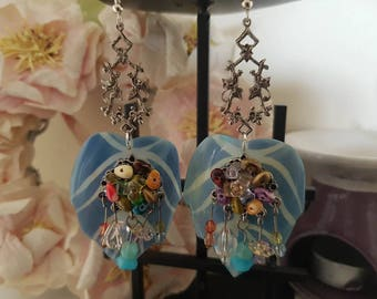 Mismatched Jewelled Shell Leaf Earrings