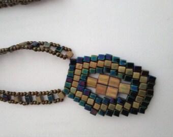 pendant necklace, black and khaki, silver beads, tila, weaving brik stich, lightweight, anniversary, unique, for Grandma, aunt
