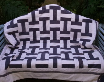 Handmade patchwork quilt - double bed - unique wedding or engagement gift - traditional design - made to order - heirloom quilt for gift
