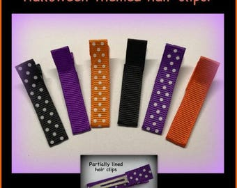 "6 Halloween hair clips ribbon pinch clip barrette partially lined single prong polka dot grosgrain cover metal 1 3/4"" girl hair clippies B5"