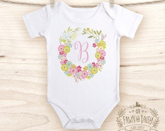 Floral Monogram Onesie®  - Baby Girl Onesie® - Personalized Onesie® - Baby Girl Clothes -- Baby Shower Gift -