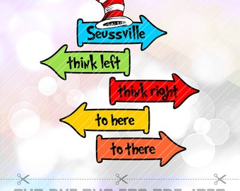 SVG PNG Dxf The Cat in the Hat Dr Seuss Cricut Design Silhouette Cameo Birthday Party Supplies Decorations Clip Art Decal Transer Iron On