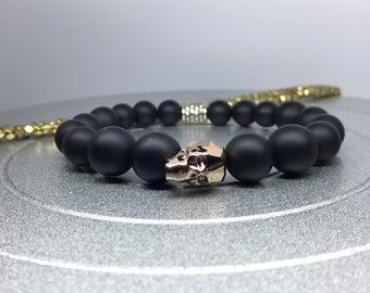 Crystal Skull Bracelet. Swarovski Crystal Skull Rose Gold / Matte Black Onyx Yoga Mala Beaded Bracelet. Healing Natural Gemstone Bracelet.