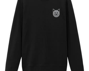 Cat Embroidered Sweatshirt Cute Sweatshirt