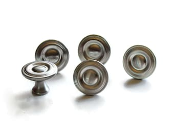 Silver knob - nickel knob - Drawer Pull - Drawer Knob - 10 pack