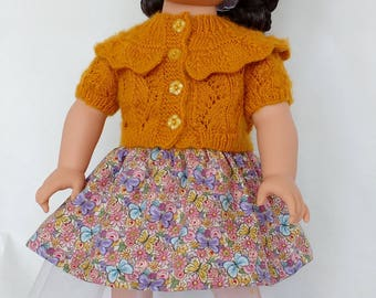 Doll clothes for 18 inch doll, Hand knit Doll Cardigan, Skirt, Sweater. Headband, Handmade ensemble fits doll similar to American Girl doll.
