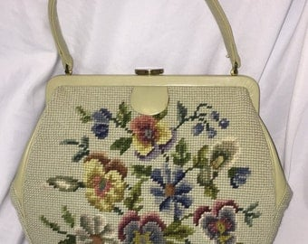 Large 1960s Floral Needlepoint Bag w/ matching change purse