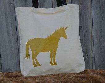 Unicorn lover, gold unicorn, unicorn handbag, unicorn tote bag, gold printing, totes, handbag, books tote, unique tote bag, gift idea, bags