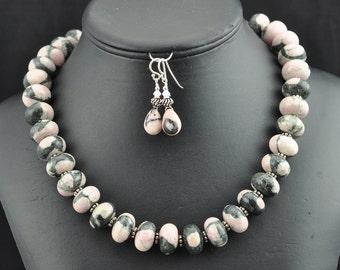 Pink Zebra Jasper .925 necklace and earrings set