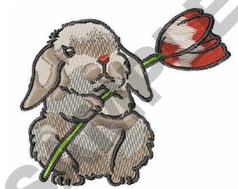 Bunny With Tulip - Machine Embroidery Design
