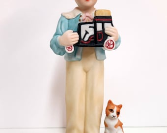 Vintage 1980s Jan Hagara Figurine, Limited Edition Jan Hagara Bisque Figurine, Jeff, Jan Hagara Jeff Figurine - V124