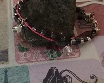 Bracelet 21 cm - lace - leather - Crystal - Swarovski...
