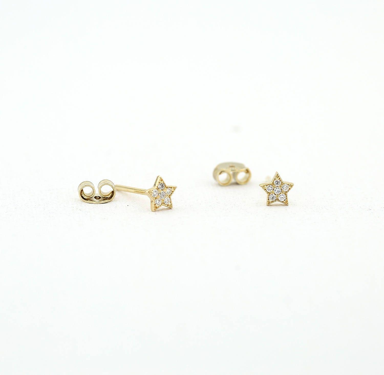 Tiny Star Earrings/ Diamond Star Earrings in 14k Solid Gold/ Tiny Diamond Earrings/ Tiny Stud Earrings/ Tiny Diamond Studs/ Minimalist