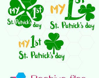First St. Patrick's day, hat ,shamrock,  in svg, dxf, png, eps format. Instant download for Cricut and Silhouette Studio