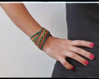 Bracelet cotton crochet Boho Chic Spring & Summer - Green\Red