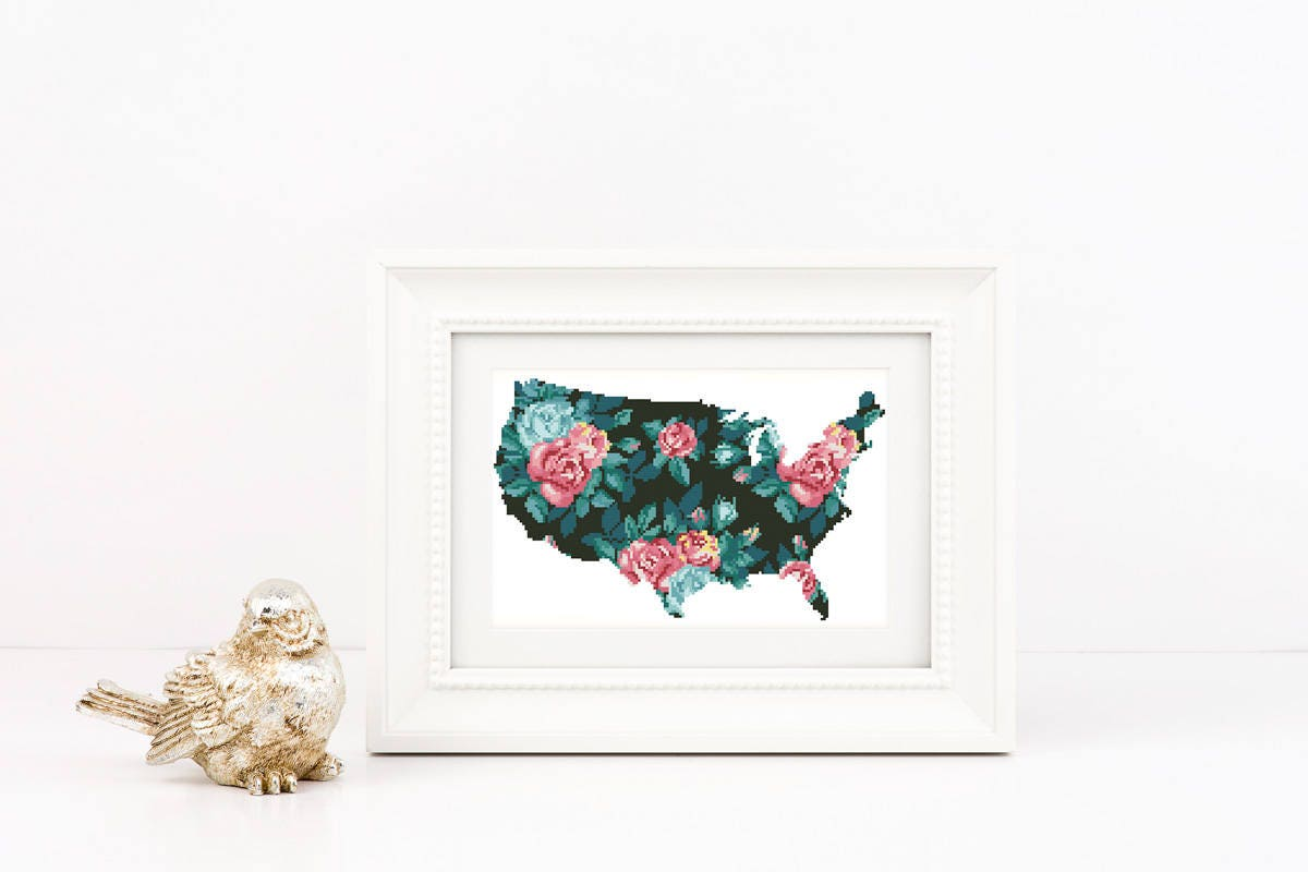 Floral USA Map Cross Stitch Pattern Instant Download PDF Flower - States of usa map pdf