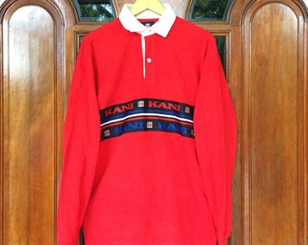 Vintage KARL KANI spellout rugby L/S polo shirt medium size