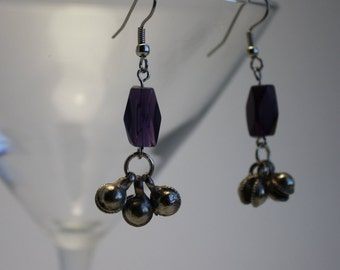 Purple bell earrings