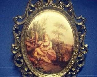 Italian Print on Silk in Brass Frame