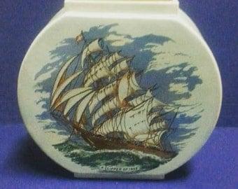 Vintage Blue Ceramic Vase with Clipper Ship