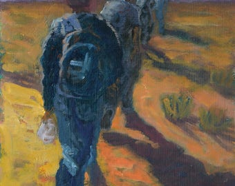 "Original Framed Oil Painting ""Hiking"""