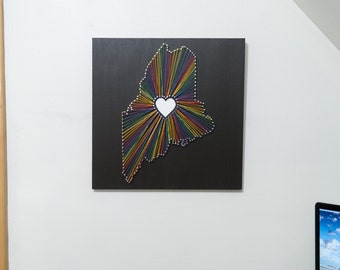 Heart of Maine String Art - Black, Rainbow and White