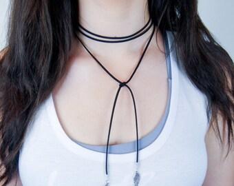 Black Suede Wrap Necklace