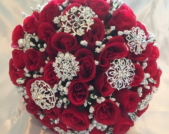 Red Rose Bridal Brooch Bouquet