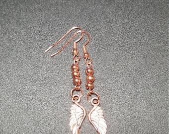 Bright Copper Beaded Angel Wing Dangle Earrings