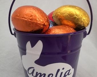 Personalised Easter Bucket with Bunny Design,  Easter Bunny Bucket, Easter Gift, Gift Baskets, Easter, Metal Bucket