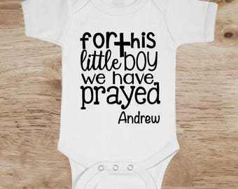 Miracle Baby, God Answered Prayers Bodysuit, Hospital Outfit For Baby Boy, we prayed for this boy, answered prayer, hospital outfit