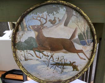 James L Artig plate,vintage metal plate, decorative plate, decorative tray,vintage tray,deer tray,deer decor,vintage deer ,vintage tra