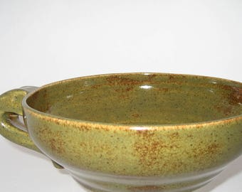 Hand thrown and altered pottery batter bowl