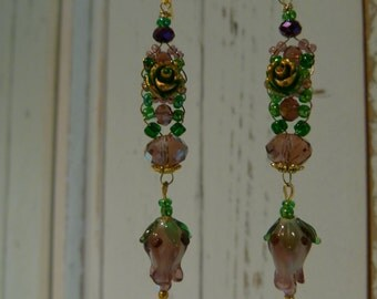 Romantic Venetian glass earrings with rose and 08