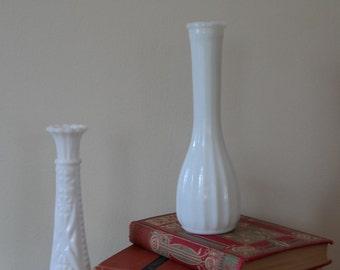 Skinny White Milk Glass Vases - Set of Two