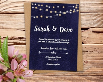 Navy fairy lights Printable Wedding Invitation Set