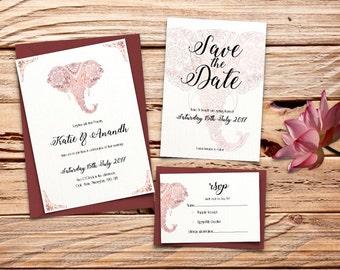 Maroon / Red Indian Elephant Printable Wedding Invitation Set
