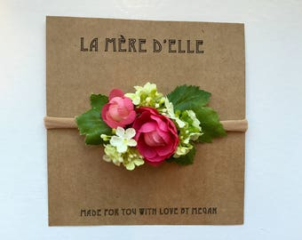 Baby girl headband or clip  hot pink and green hydrangea baby gift baby shower gift flower girl small flower crown