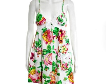 Betsey WHITE/Multi-Color EYELET Trim Bow Pockets Floral Babydoll Tunic Dress M