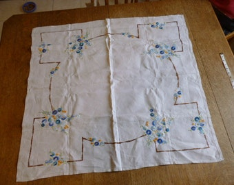 "34"" x 33"" hand embroidered, linen tablecloth"
