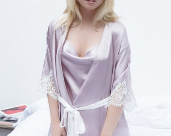 Lily Robe in Dusky Lilac Silk Satin and Ivory French Lace Appliqué