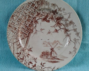 Victorian Pottery Aesthetic Movement Brown Transferware Staffordshire China Plate