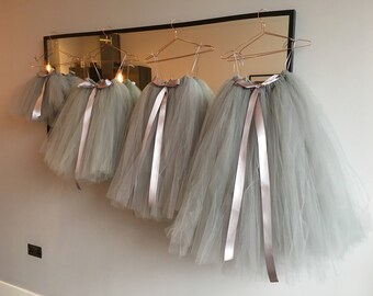 Handmade Grey Tulle Skirt/Tutu | Perfect For Flower Girls, Bridesmaids, Weddings, Ballet, Fancy Dress. Any Colour & Size Available