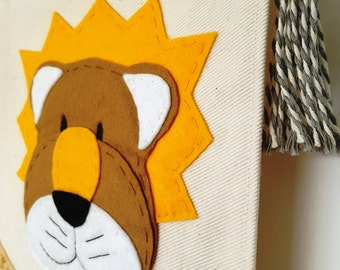 Rory the Lion Handmade Wall Hanging Felt Banner.  Perfect for a new arrival, baby nursery, christening or birthday gift