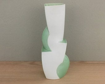 Modern Ceramic Vase / DOUBLE Cliff in Green