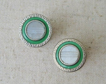 Snap Link Mother Of Pearl Cufflinks, Vintage Mens Accessories, Art Deco, 1920s, Octagon Round, Silver Tone, Green Wedding, Etched, Gatsby