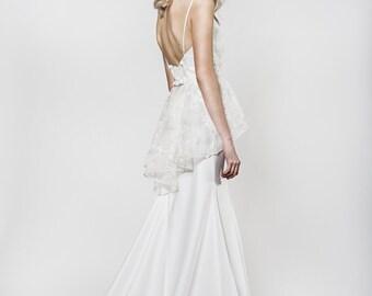 Mermaid style wedding dress with elegant back